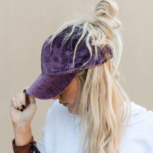 PURPLE MESSY BUN BASEBALL CAP